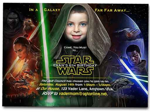star wars custom photo invitations