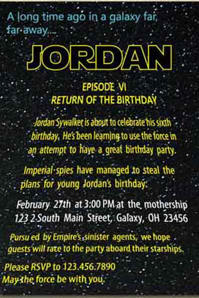 The best star wars birthday invitations by a pro party planner printable star wars invitations stopboris Gallery