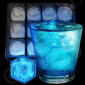 blue flashing LED ice cubes