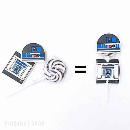 star wars lollipop wrappers r2d2