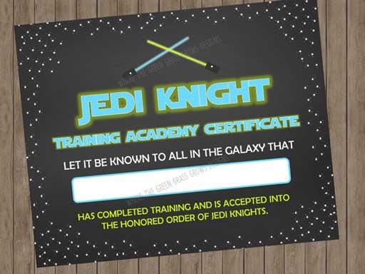 jedi training certificates