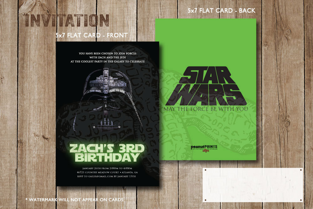 personalized star wars birthday invitation
