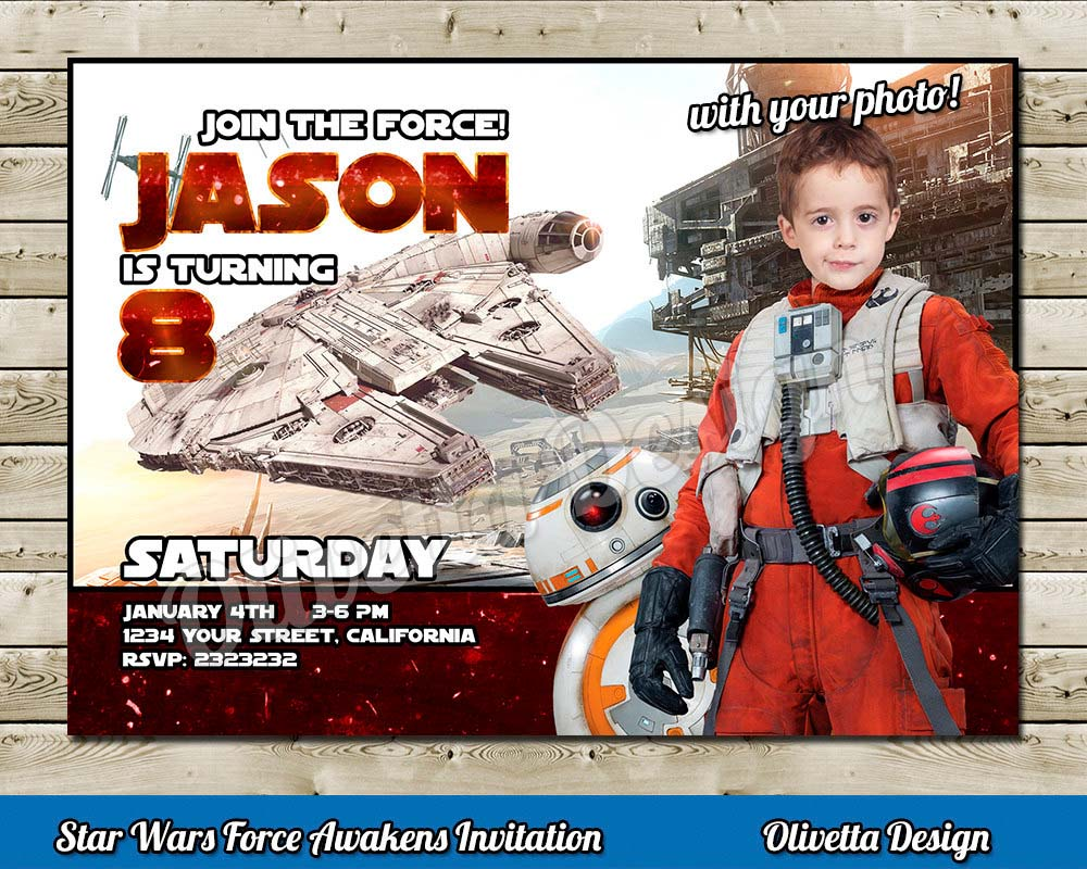 star wars photo invitation