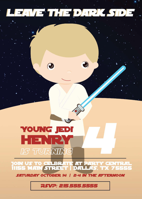 star wars printable invitation