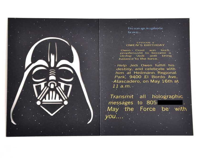 darth vader birthday invitation