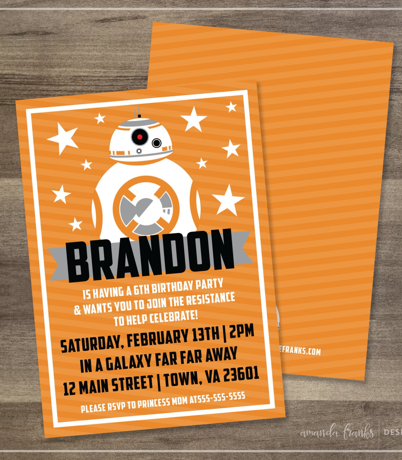 star wars BB8 birthday invitation