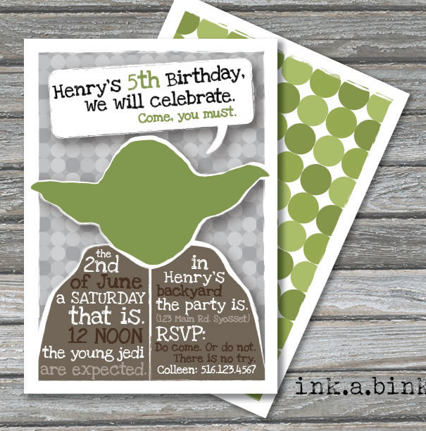 yoda birthday invitation