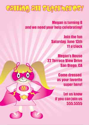 girl superhero invitations