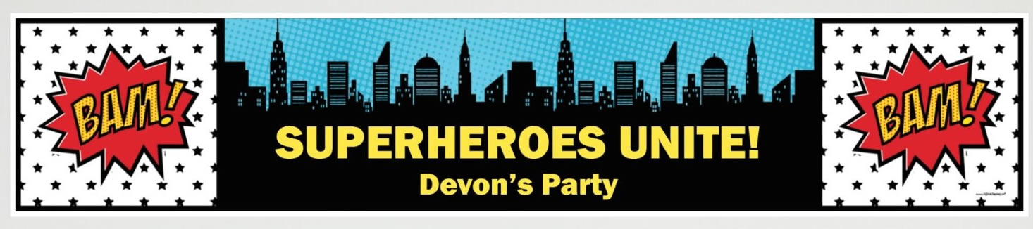 personalized superhero party banner