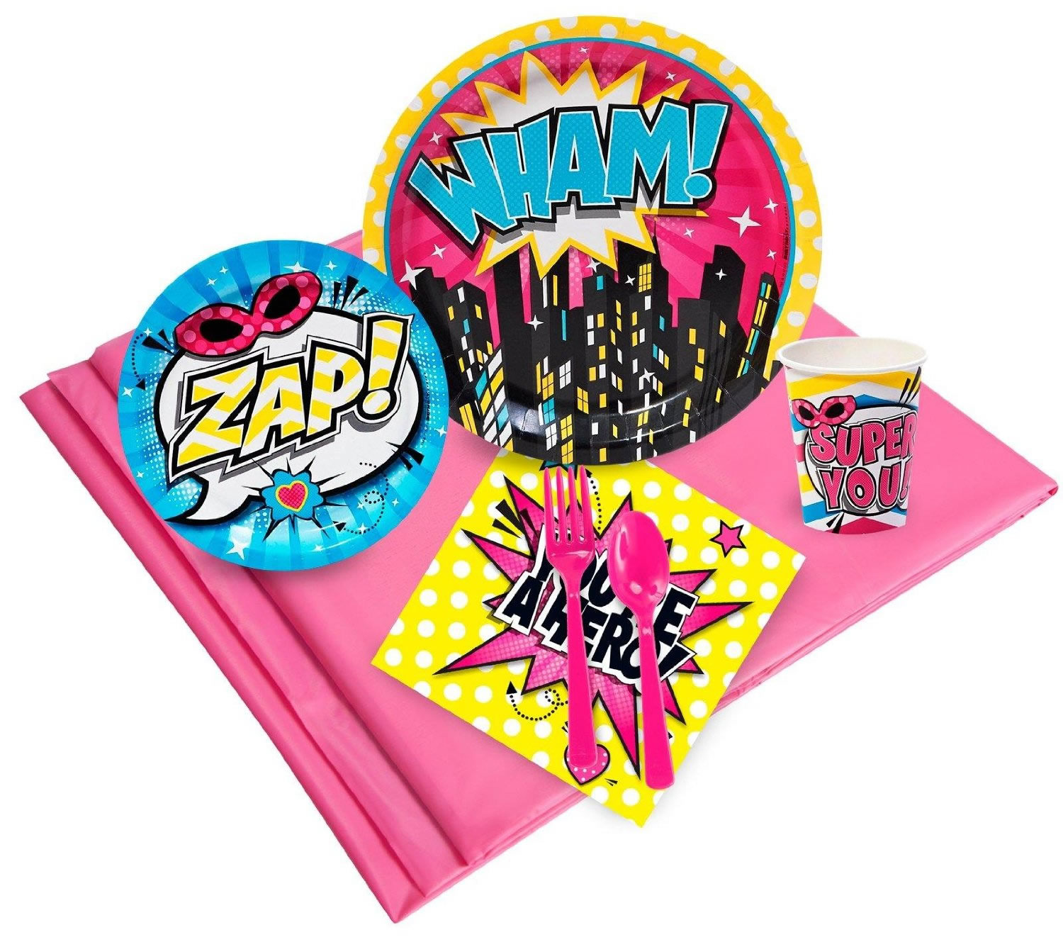girl superhero party tableware