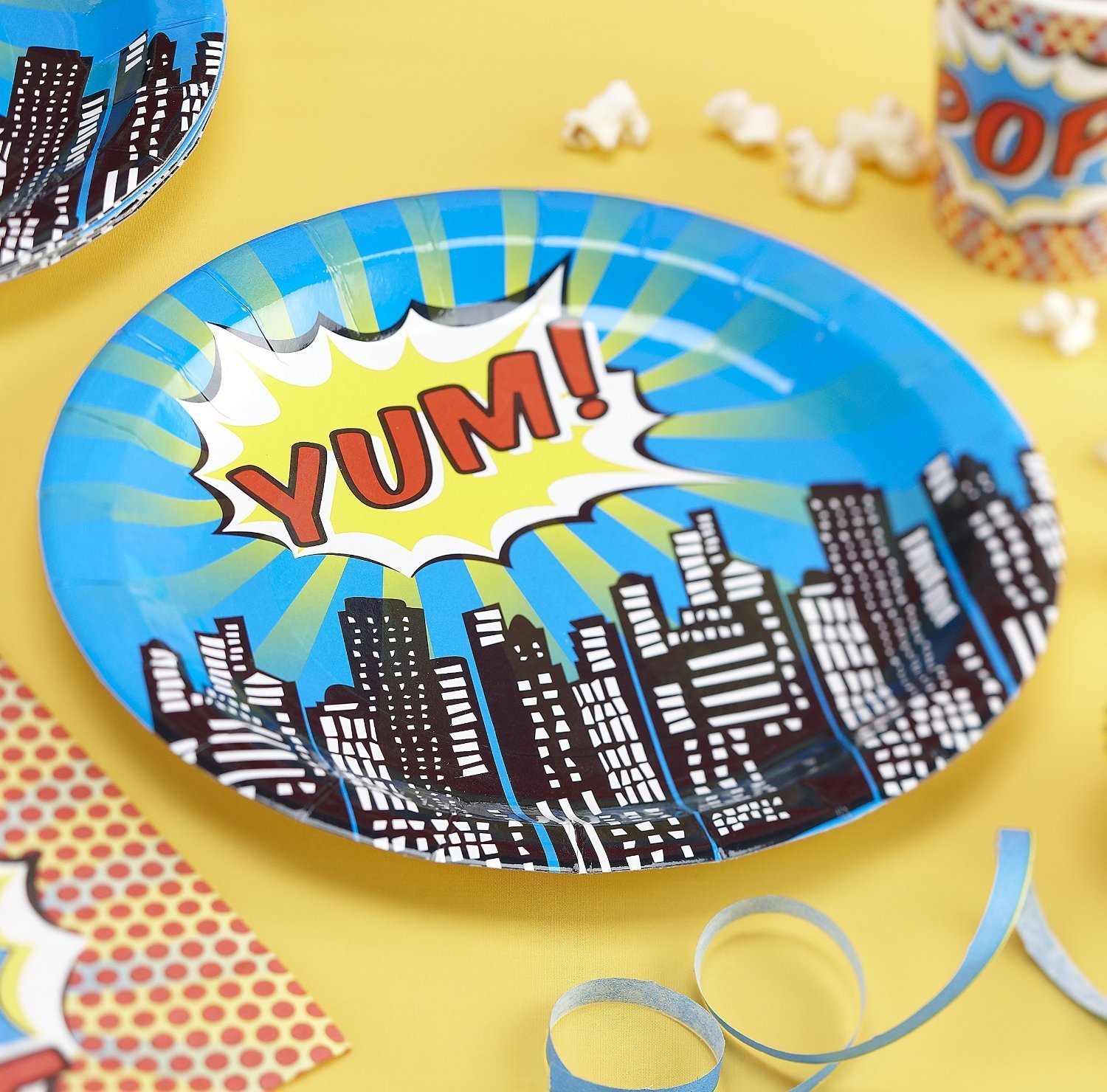 pop art superhero party tableware