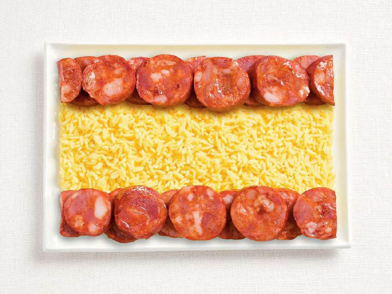 spanish flag made of food