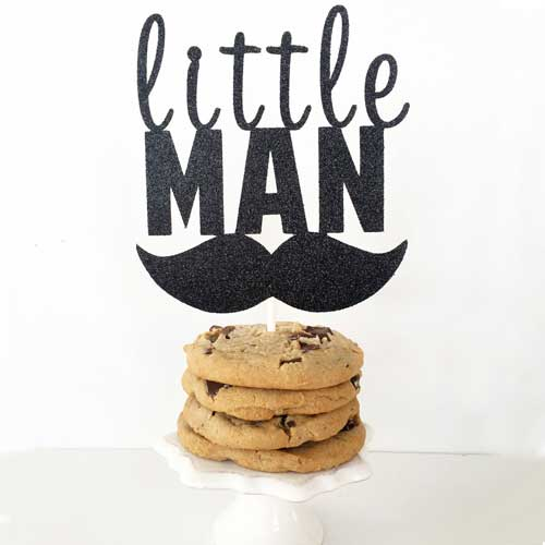 little man birthday cake topper