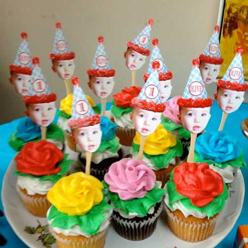 1st birthday party photo cupcake toppers