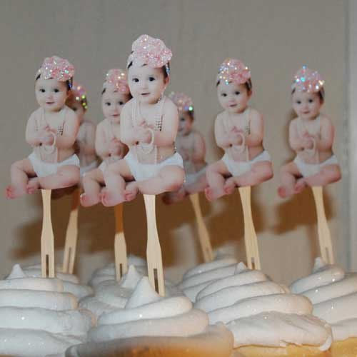 baby photo cupcake toppers