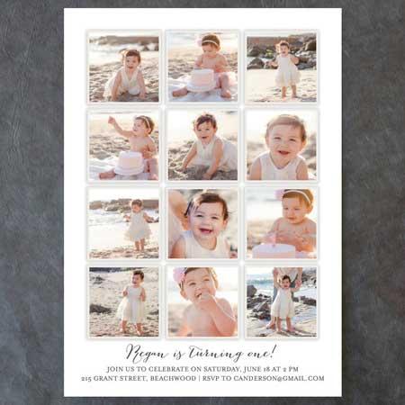 photo collage 1st birthday invitation