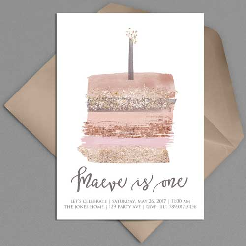 illustrated 1st birthday invitation