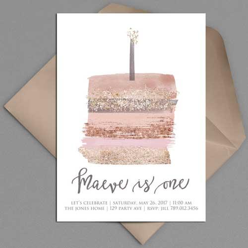 illustrated 1st birthday invitation