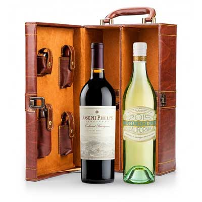 Leather Wine Tote Gift Set