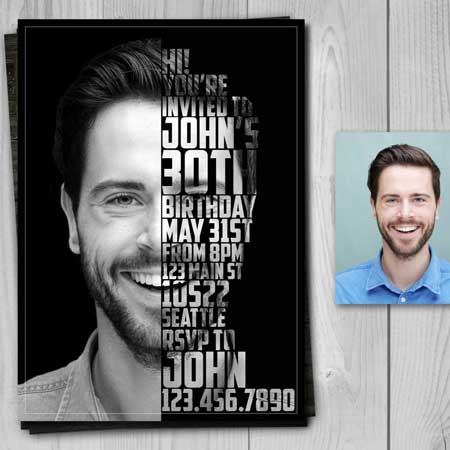 custom photo face words invitation