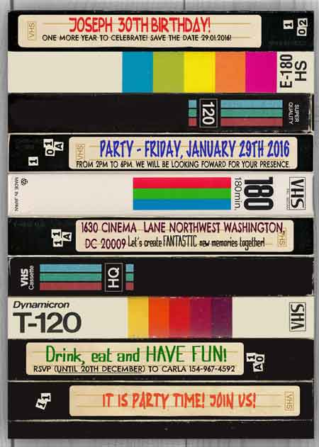 VHS video tapes invitation