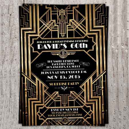 Great Gatsby Art Deco style invitation