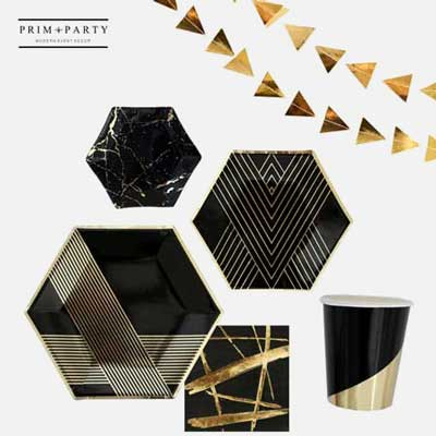 black and gold premium party plates and cups