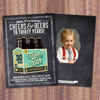 Cheers and Beers 30th birthday party invitations