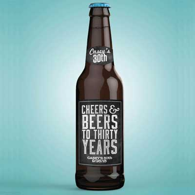 Cheers and Beers 30th birthday bottle labels