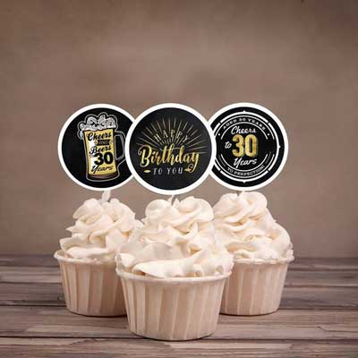 Cheers and Beers 30th birthday cupcake toppers