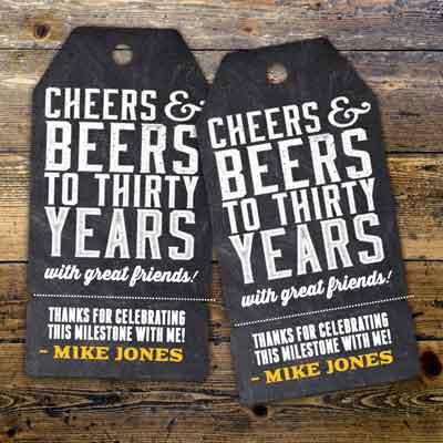 Cheers and Beers 30th birthday tags