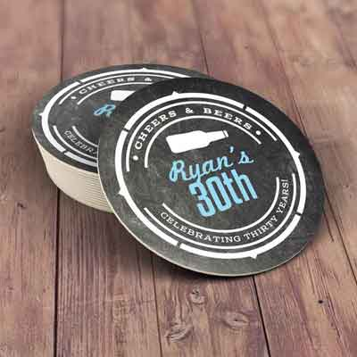 Cheers and Beers 30th birthday coasters