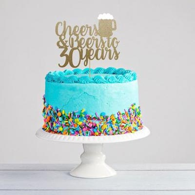 Cheers and Beers to 30 years cake topper
