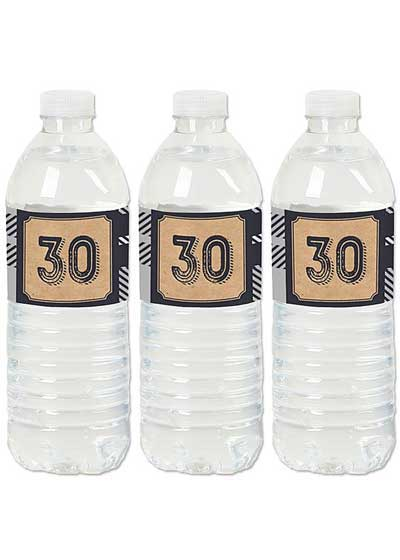 Aged to Perfection 30th birthday water bottle labels
