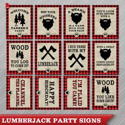 lumberjack party signs