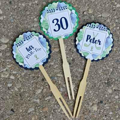 Golf Par-Tee milestone birthday cupcake toppers