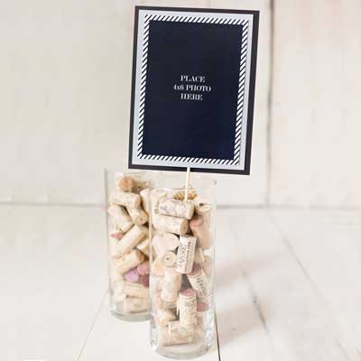 black and silver milestone birthday photo centerpieces