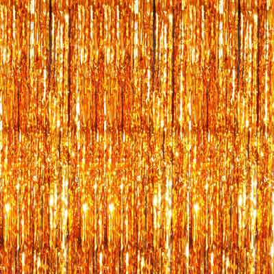 metallic orange foil curtain