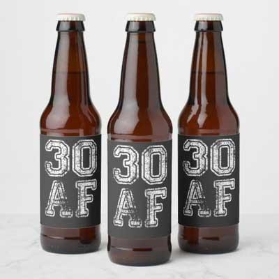 30 AF beer bottle labels