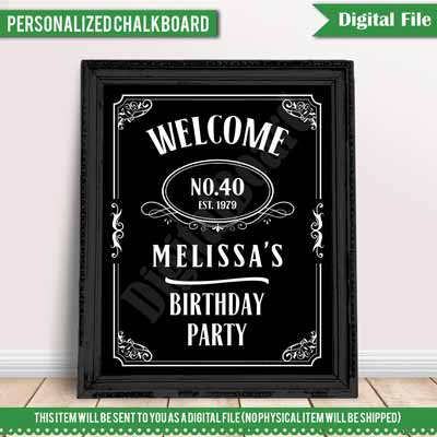 custom Jack Daniels whiskey party sign