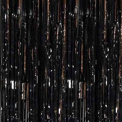 black metallic foil curtain