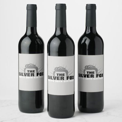 The Silver Fox wine bottle labels