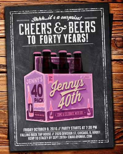 cheers and beers to forty years invitation