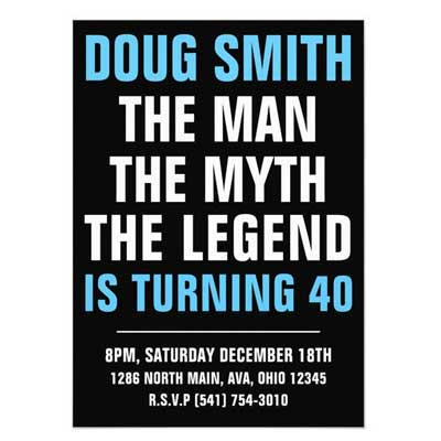 The Man, The Myth, The Legend birthday party invitation
