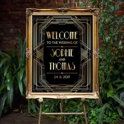 Great Gatsby Art Deco style welcome sign