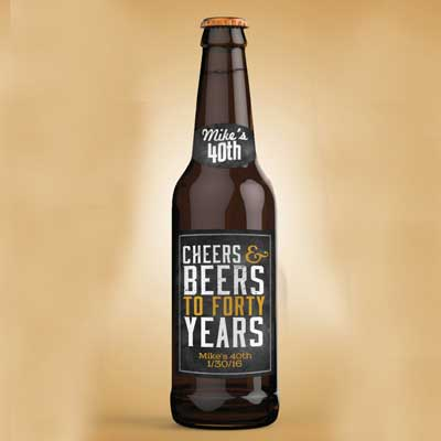 Cheers and Beers 40th birthday bottle labels