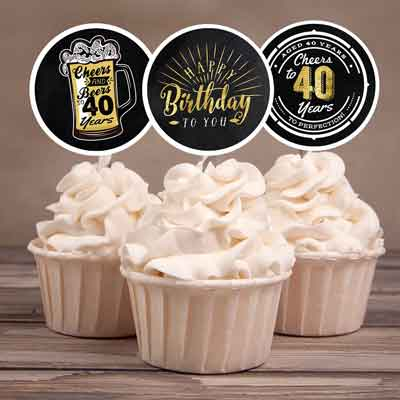 Cheers and Beers 40th birthday cupcake toppers