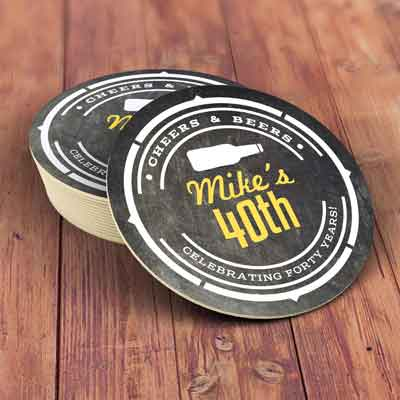 Cheers and Beers 40th birthday coasters