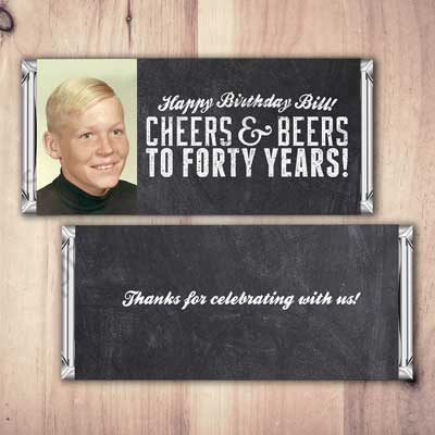 Cheers and Beers to 40years candy labels