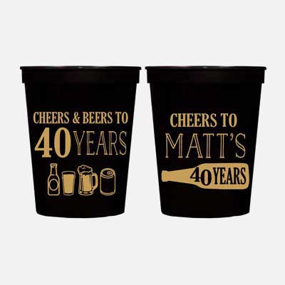 Cheers and Beers to 40 years custom party cups